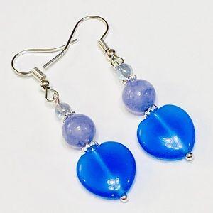 SWEETHEART Blue & Purple Agate Stone Earrings
